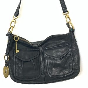 Fossil Black Leather Crossbody.